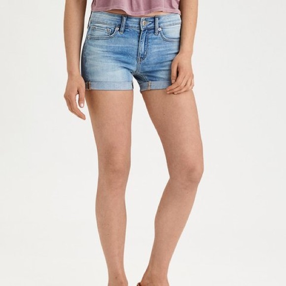American Eagle Outfitters Pants - AEO Super Super Stretch Midi Shorts Mid Rise Denim